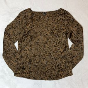 Gold and Black Paisley Long Sleeve Blouse